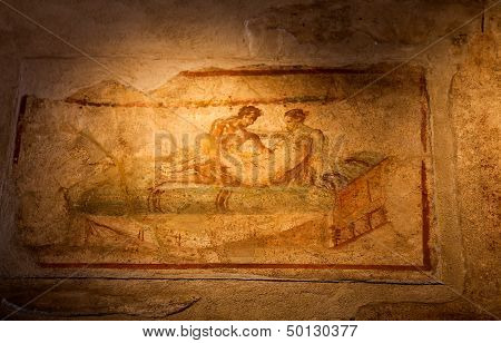 Two Thousand Years Old Roman Antique Erotic Fresco In Pompeii, Italy