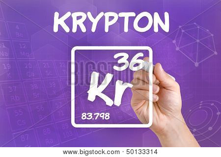 Hand drawing the symbol for the chemical element krypton