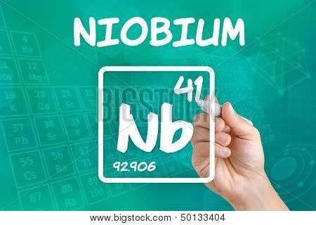 Hand drawing the symbol for the chemical element niobium