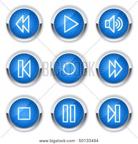 Walkman web icons, blue buttons