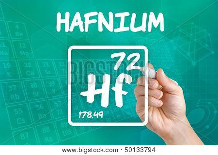 Hand drawing the symbol for the chemical element hafnium