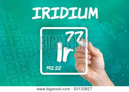 Hand drawing the symbol for the chemical element iridium