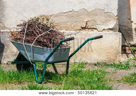 Wheelbarrow Near The Old Wall