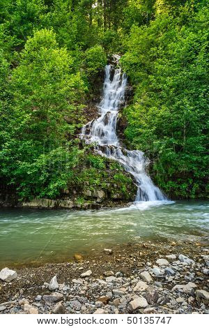 Small Waterfall On A Little Mountain Stream