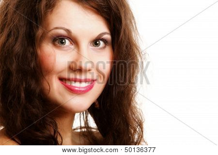 Portrait Of Beautiful Girl Long Curly Hair