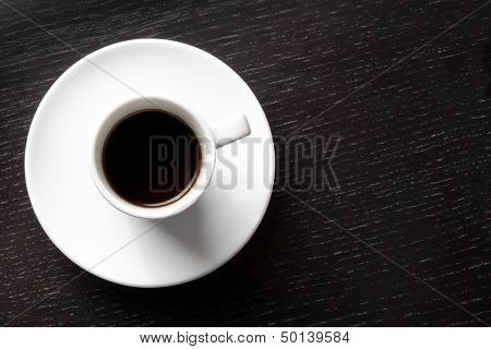 White Cup With Black Coffee With Space For Text