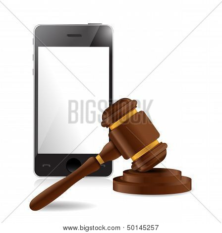 Phone And Law Hammer Illustration