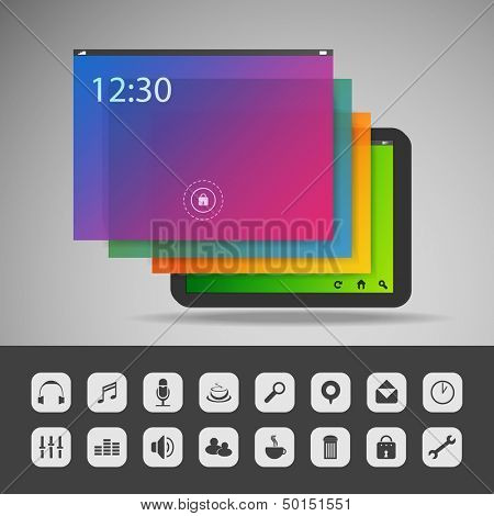 Tablet with Layers and Icons | Business Vector Illustration