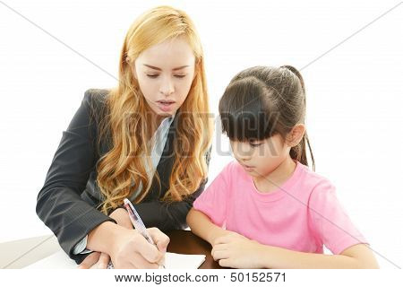 English teacher with girl studying isolated on white background poster