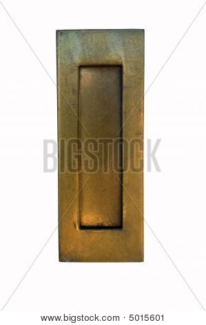 Brass and gold letter slot isolated on white with clipping path poster