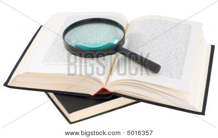 Open Book And Magnifier
