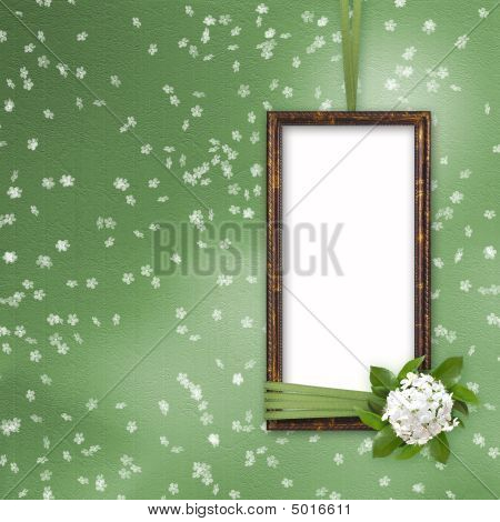 Green Abstract Background With Frame And Beautiful Bouquet