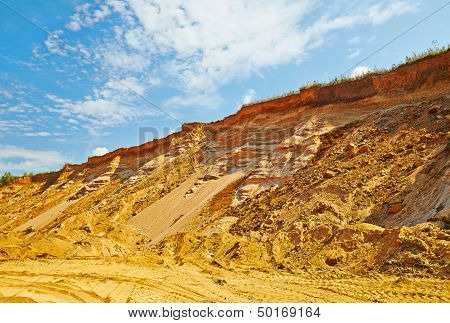 Landscape With The Sandy Road And Cliff In Summer Sunny Day