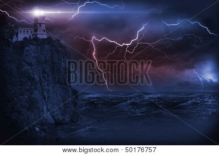 Storm and Lighthouse Illustration. Heavy Storm at NIght and Lighthouse on the Rock. poster