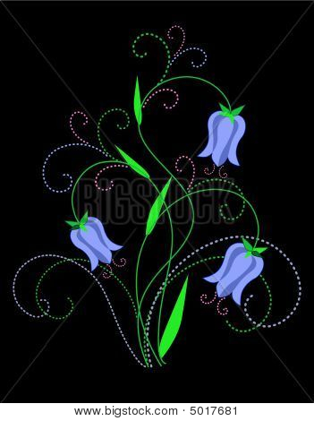 Campanula. Abstract flowers design. Decorative composition. Vector illustration. poster