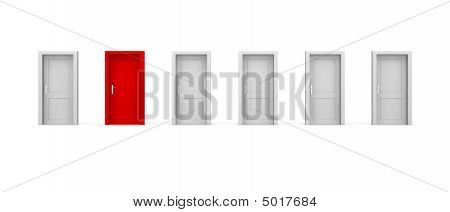 Line Of Six Doors  One Red