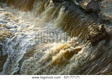 Flood Disaster - Rushing Dark Dirty Waters During Flash Flood. Nature Disasters Photo Collection. poster