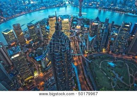 Shanghai Skyscraper at night, aerial view of high-rise buildings  in Pudong,Shanghai, China. Jin Mao Tower (one of China's tallest buildings) and Oriental Pearl Tower.