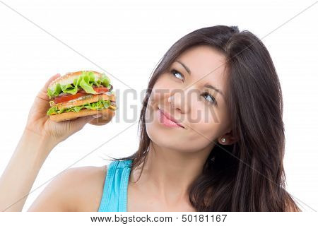 Woman With Tasty Fast Food