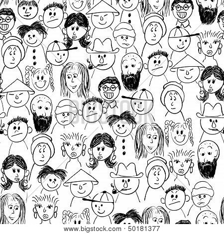 Vector seamless crowd of people