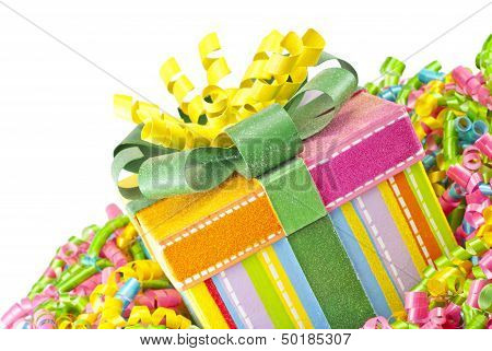 Colorful Gift Box With Ribbons
