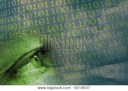 Man's Eye And Binary Code