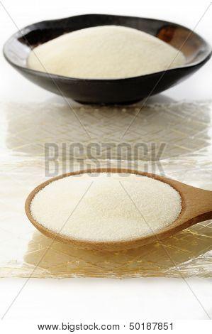 Gelatin Granules And Gelatin Sheet  On White