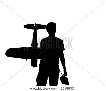 Young man with an RC airplane and a controller, black silhouette on white background, with copy space