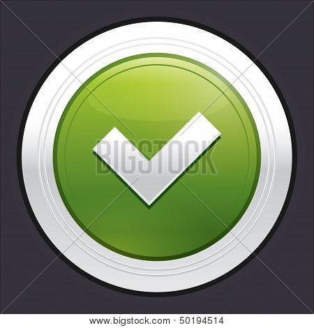 Yes button. Ok icon. Vector green sticker.