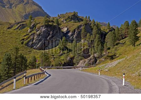 Road In Alps Mountain