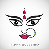 Illustration of Goddess Durga for Indian festival Desshra background. poster