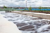 Volumes for oxygen aeration in wastewater treatment plant. Long exposure poster