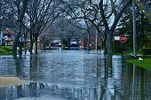 Deep Flood Water in Residential Area. Des Plains IL USA. City Under River Flood Water. Nature Disasters Photography Collection. poster