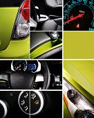 Modern Transportation - Cars Details Vertical Mosaic. Studio Photography. Transportation Photo Collection. poster