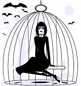 black and white mystical fantasy: girl raven in a cage poster