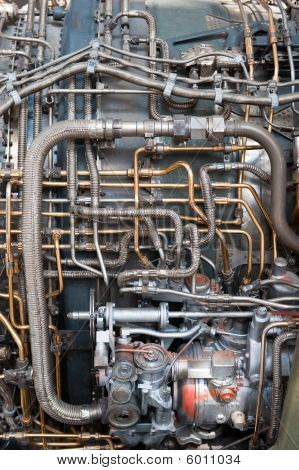 Jet Engine view of Tubing and pipes of turbine motor interior