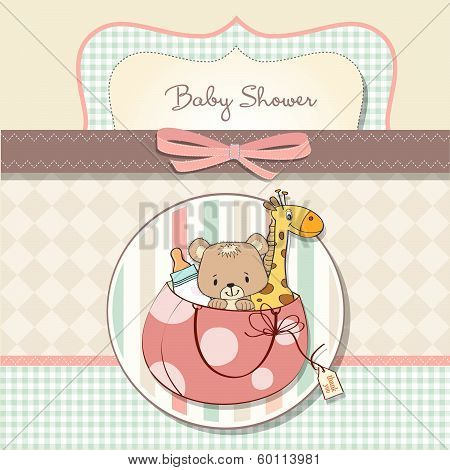New Baby Announcement Card With Bag And Some Toys