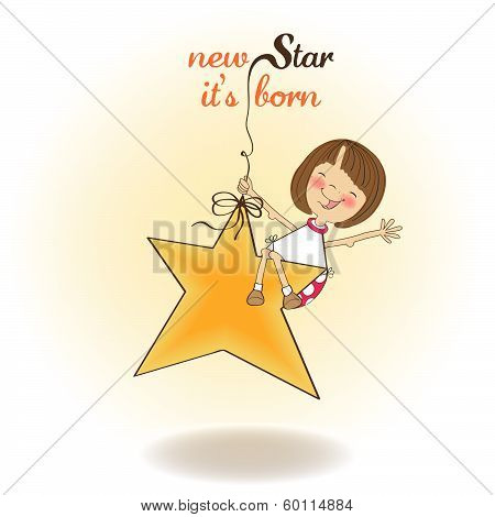 New Star It's Born.welcome Baby Card
