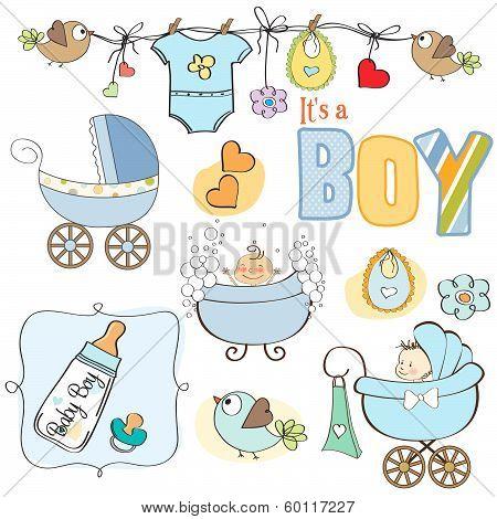 Baby Boy Shower Elements Set Isolated On White Background