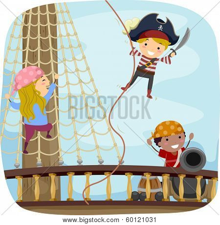 Illustration of Little Kids Dressed in Pirate Costumes Playing on the Ship Deck