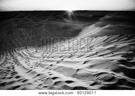 Sunset In Sahara Desert Black And White