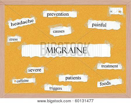 Migraine Corkboard Word Concept