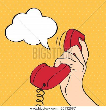 Hand Holding A Phone, Pop Art Illustration