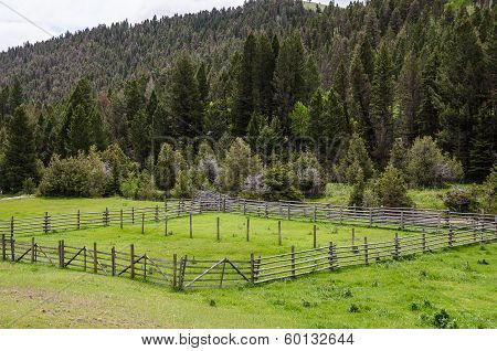 Livestock holding pen on a Montana ranch in late spring poster