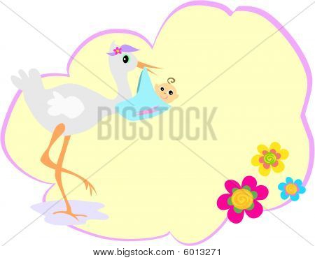 Message Bubble with Stork and Baby