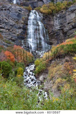 Bridal Veil Falls Utah In Autumn Colors