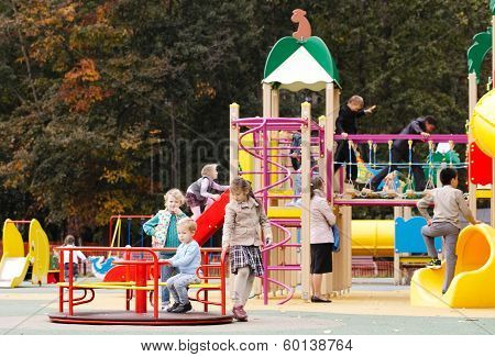 Children playing in an outdoor playground