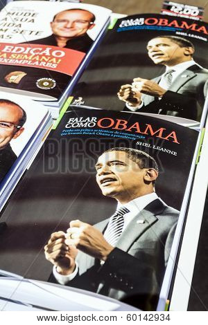 Lisbon, Portugal. May 30, 2013: Portuguese edition of Say It Like Obama by Shell Leanne on sale at the Lisbon Book Fair, organized at Eduardo VII Park.