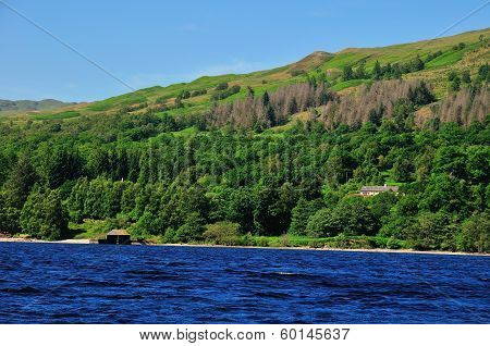 Boat House On A Scottish Loch.