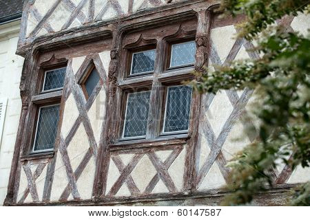 Half-timbered house in Chinon Vienne Valley France poster